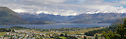 Panoramic view from atop Mt. Irons, above Wanaka; looking down on Wanaka, with Mt. Aspiring National Park in the distance.