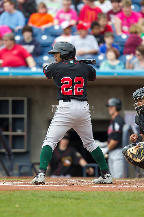 Great Lakes Loons second baseman Jesmuel Valentin #22 bats during a game against the Quad Cities River Bandits at Modern Woodmen Park on April 29, 2013 in Davenport, Iowa. (Brace Hemmelgarn)
