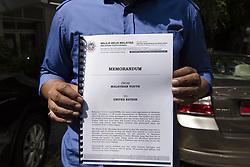 September 8, 2017 - Kuala Lumpur, Malaysia - Khairul Azwan Harun(41,politician) who Deputy Leader of UMNO(United Malays National Organisation) Youth holds a memorandum outside UN HQ in Kuala Lumpur, Malaysia on September 8, 2017..UMNOurgesUN to act immediately about Rohingya crisis in Myanmar. (Credit Image: © Chris Jung/NurPhoto via ZUMA Press)