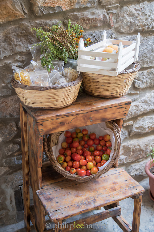 Wicker baskets with fruit for sale, Mesta, Chios, Greece