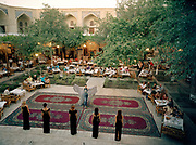 A fashion show held in the Nadir Divanbegi Medressa, in Bukhara, one of the rare evening entertainment.<br /> Travels in Central Asia through the ancient cities of the old Silk Road. Ubekistan. june 2006.