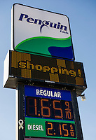 Penguin Foods in Belmont posts one of the lowest gas prices in the area at $1.65.9 for Regular on Friday afternoon.  (Karen Bobotas/for the Laconia Daily Sun)