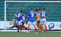 GOAL- Carlisle United's Courtney Meppen-Walters scores the opening goal <br /> <br /> Photographer Ashley Crowden/CameraSport<br /> <br /> Football - The Football League Sky Bet League Two - Newport County AFC v Carlisle United - Saturday 3rd January 2015 - Rodney Parade - Newport<br /> <br /> © CameraSport - 43 Linden Ave. Countesthorpe. Leicester. England. LE8 5PG - Tel: +44 (0) 116 277 4147 - admin@camerasport.com - www.camerasport.com