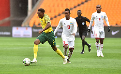 South Africa: Johannesburg: Bafana Bafana player Lebo Mothiba  battles for the ball with Seychelles player Colin Esther during the Africa Cup Of Nations qualifiers at FNB stadium, Gauteng.<br />Picture: Itumeleng English/African News Agency (ANA)