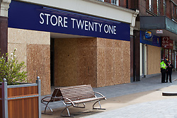 Luton, UK. 5th May, 2012. Boarded-up shops in Luton city centre on the occasion of a march by around 3,000 supporters of the far-right English Defence League and a counter-protest by around 1,000 supporters of We Are Luton and Unite Against Fascism. Many shops decided not to open for the day, in spite of claims by Bedfordshire Police that Luton city centre remained open for business as usual.