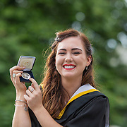 """23.08.2016        <br /> Over 300 students graduated from the Faculty of Arts, Humanities and Social Science at the University of Limerick today. <br /> <br /> Attending the conferring ceremony were Bachelor of Arts in Applied Languages graduate, Aine Charlton, Kiltimagh Co. Mayo. Mine was awarded with the Cooperative Education Award 2015. Picture: Alan Place.<br /> <br /> <br /> <br /> <br /> UL Graduates Employability remains consistently high as they are 14% more likely to be employed after Graduation than any other Irish University Graduate<br /> Each year, the Careers Service collects information about the 'First Destinations' of UL graduates. During the April/May period following graduation, we survey those who have completed full-time undergraduate and postgraduate courses for details on their current status. This current survey was conducted nine months after graduation and focuses on the employment and further study patterns of the graduates of 2015. A total of 2,933 graduates were surveyed and a response rate of 87% was achieved. <br /> As the University of Limerick commences four days of conferring ceremonies which will see 2568 students graduate, including 50 PhD graduates, UL President, Professor Don Barry highlighted the continued demand for UL graduates by employers; """"Traditionally UL's Graduate Employment figures trend well above the national average. Despite the challenging environment, UL's graduate employment rate for 2015 primary degree-holders is now 14% higher than the HEA's most recently-available national average figure which is 58% for 2014"""". The survey of UL's 2015 graduates showed that 92% are either employed or pursuing further study."""" Picture: Alan Place"""