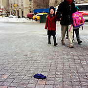 Blue Glove (right hand impression)<br /> In front of Metropolitan Museum of Art 5th Ave & 82nd street<br /> 11-February, 2003 / 2.50PM
