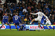 Jack Grealish of Aston Villa has a shot at goal from long range.  EFL Skybet championship match, Cardiff city v Aston Villa at the Cardiff City Stadium in Cardiff, South Wales on Monday 2nd January 2017.<br /> pic by Andrew Orchard, Andrew Orchard sports photography.