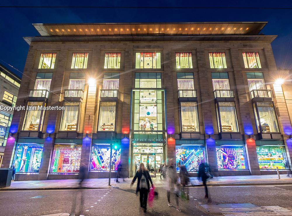 Night view of exterior of Harvey Nichols store in St Andrews Square in Edinburgh, Scotland, United Kingdom.