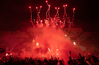 Football - 2019 / 2020 Premier League - Liverpool vs Chelsea<br /> Fireworks are seen from outside the stadium as fans celebrate, at Anfield<br /> <br /> Credit: COLORSPORT/TERRY DONNELLY