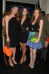 Left to right, LAUREN REGAN, ROXIE NAFOUSI and ROSIE FORTESCUE at the Warner Music Group & Belvedere BRIT Awards After Party held at The Savoy, London on 19th February 2014.