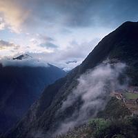 Ancient Inca ruins at Choquequirao, a remote sacred site in the Cordillera Vilcabamba.
