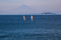 Windsurfing Sagami Bay - Sagami Bay was chosen by the Japan Olympics committee to host the 2020 sailing events, in conjunction with Enoshima, just across the bay.  Several teams, including the sailing crews from Poland and the UK have chosen Hayama as their headquarters during the event.  Hayama is also the site of regular Nippon Cup sailing events that take place yearly, in cooperation with the Hayama Marina Yacht Club.  The small town of Hayama is also known for its fine beaches and for the Emperor of Japan's seaside villa, off limits to the public, but adjacent to one of the top 100 beaches in Japan, popular in summer.  Off season, Hayama is a quiet seaside fishing village, with an interesting population:  a mix of creative types who need quiet and reflection away from the distractions of Tokyo yet only an hour away by train; also evident are wealthy people from Tokyo with weekend villas and condos, as well as retired people who abandoned Tokyo for the easy life by the sea in their golden years. Sagami Bay is contained within the Miura Peninsula on its eastern side to the Izu Peninsula to the west.  As an added plus, there are view of Mt Fuji to be seen on clear days, though usually not in summer.