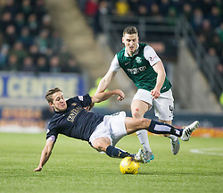 Falkirk's Will Vaulks and Hibernian's Paul Hanlon. <br /> Falkirk 1 v 1 Hibernian, Scottish Championship game played 17/1/2015 at The Falkirk Stadium.