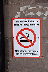 No smoking sign in both Welsh and English, Wales