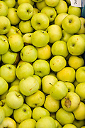 Fresh early season apples on sale at a farmers market in Wicker Park August 2, 2015 in Chicago, Illinois, USA