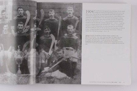 """Kilkenny (Tullaroan) All-Ireland Hurling Champions 1904. Back Row: Dick Brennan, """"Drug"""" Walsh, Eddie Doyle, Paddy """"Icy"""" Lanigan, John James Brennan, Martin Lalor, Jack Hoyne. Front Row: Jim Dunne, Sim Walton, Pat Fielding, Dan Stapleton, Ger Doheny (capt), Jim Lalor, Jack Rochfort, Pat """"Fox"""" Maher. Foreground: Dick Doyle, Paddy Saunders, J J Brennan and Jim Dunne stood in for Fr Dan Grace and Jack Anthony who had played in final but were not available when the photo was taken."""