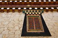 Typical Tibetan design window,The Tibetan Lamaistic Buddhist Songtsam Monastery, Shangri-La or Xianggelila,  Zhongdian County, Yunnan, China