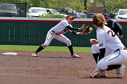 22 April 2017:  Alex Caliva covers 2nd base, collecting the throw and preparing for the tag during a Missouri Valley Conference (MVC) women's softball game between the Missouri State Bears and the Illinois State Redbirds on Marian Kneer Field in Normal IL