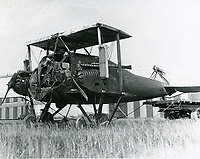 1921 A damaged plane at Rogers Field at Wilshire Blvd. & Fairfax Ave.