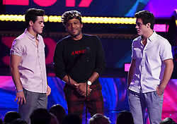 LOS ANGELES - AUGUST 13: L-R: Grayson Dolan, Anthony Anderson and Ethan Dolan onstage at FOX's 'Teen Choice 2017' at the Galen Center on August 13, 2017 in Los Angeles, California. (Photo by Frank Micelotta/FOX/PictureGroup) *** Please Use Credit from Credit Field ***