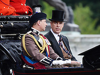 Prince Edward Earl of Wessex; Prince Andrew Duke of York ,Trooping the Colour, Buckingham Palace, London UK, 14 June 2014, Photo by Mike Webster