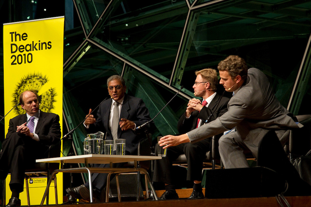 BMW Edge, Melbourne, Australia, 7th June 2010: Panelists speak at one of the 2010 Deakin Lecture series talks entitled Future Energy Solutions: Powering na Sustainable Tomorrow..Photo: Joseph Feil