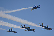 The U.S. Navy's Blue Angels aerobatic flight team arrived at Spirt of St. Louis Airport on Thursday in Chesterfield on September 5, 2019 in advance of the annual Spirit of St. Louis Airshow and STEM Expo which runs Saturday and Sunday, September 7th and 8th.<br /> Tim Vizer/Spirit of St. Louis Airshow & STEM Expo