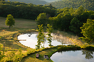 Mist rising from a pond at sunrise at Firefly Farm, Hauverville, New York, U.S.A.