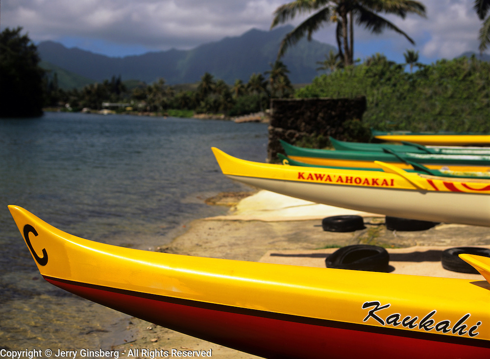 Kayaks in Kane'ohe on the North Shore of Oahu, Hawaii.