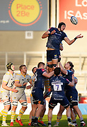 Sale Sharks lock JP Du Preez juggles the ball at a line-out  during the Gallagher Premiership Rugby match Sale Sharks -V- Wasps  at The AJ Bell Stadium, Greater Manchester, England United Kingdom, Sunday, December 27, 2020. (Steve Flynn/Image of Sport)