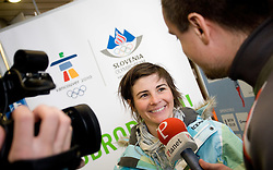 Slovenian biathlon athlete Andreja Mali with journalist of Siol Sportal Rok Plestenjak at arrival to Airport Joze Pucnik from Vancouver after Winter Olympic games 2010, on February 26, 2010 in Brnik, Slovenia. (Photo by Vid Ponikvar / Sportida)