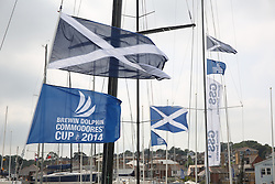 Brewin Dolphin Scottish Series 2014, an International IRC competition racing on the Solent off Cowes and hosted by the RORC.<br /> <br /> Saltires flying in Cowes Yacht Haven<br /> <br /> Credit: Marc Turner