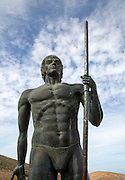 Close up statue of indigenous Mahos tribal leader by Emiliano Hernandez, Fuerteventura, Canary Islands, Spain