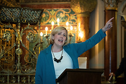 © Licensed to London News Pictures . 22/09/2019. Brighton, UK. STELLA CREASY speaks at a fringe event by the Jewish Labour Movement at middle Street Brighton Synagogue, during the second day of the 2019 Labour Party Conference from the Brighton Centre . Photo credit: Joel Goodman/LNP