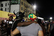 """September 4, 2016- Brooklyn, New York-United States: The Prospect-Lefferts Garden section of J'Ouvert 2016 Celebrated in Brooklyn, NYC J'Ouvert derives from a French term """"jour overt"""" meaning day break. It dates back over 200 years when French plantation owners and stemmed from night celebrations where owners imitated slaves. This form of celebration was reversed when freed slaves began to mock their master's behavior and continued to use this form of celebration in remembrance of their emancipation.  (Photo by Terrence Jennings/terrencejennings.com)"""