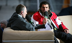 """Alberto Tomba interviewed by journalist Igor E. Bergant (left) of Slovenian Radio Television in arena after the second run of """"Ski Legends HIT Challenge by Jure Kosir"""" event in Kranjska Gora, Slovenia, on February 2, 2008. (Photo by Vid Ponikvar / Sportal Images)."""