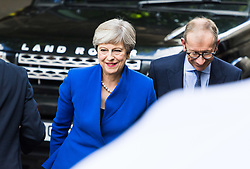London, June 9th 2017. British Prime Minister Theresa May, with her husband beside her, addresses the media after gaining The Queen's permission to form a government  following the general election where her Conservative Party lost is majority in the House of Commons.