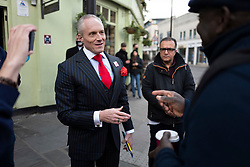 © Licensed to London News Pictures. 15/04/2021. London, UK. London Mayoral Candidate Brian Rose speaks to a member of the public while canvassing in Greenwich, South East London. The London Mayoral Election is expected to take place on the 6th of May after it was postponed last year due to the coronavirus pandemic . Photo credit: George Cracknell Wright/LNP