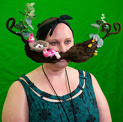 Sept.01, 2017 - Austin, Texas, U.S. -  Whiskerina competitor DONNA COLES acts in a short video presentation later played during her time onstage at the 2017 World Beard and Moustache Championships.  The Whiskerinas are women who compete in either the realistic or creative facial hair categories.(Credit Image: © Brian Cahn via ZUMA Wire)