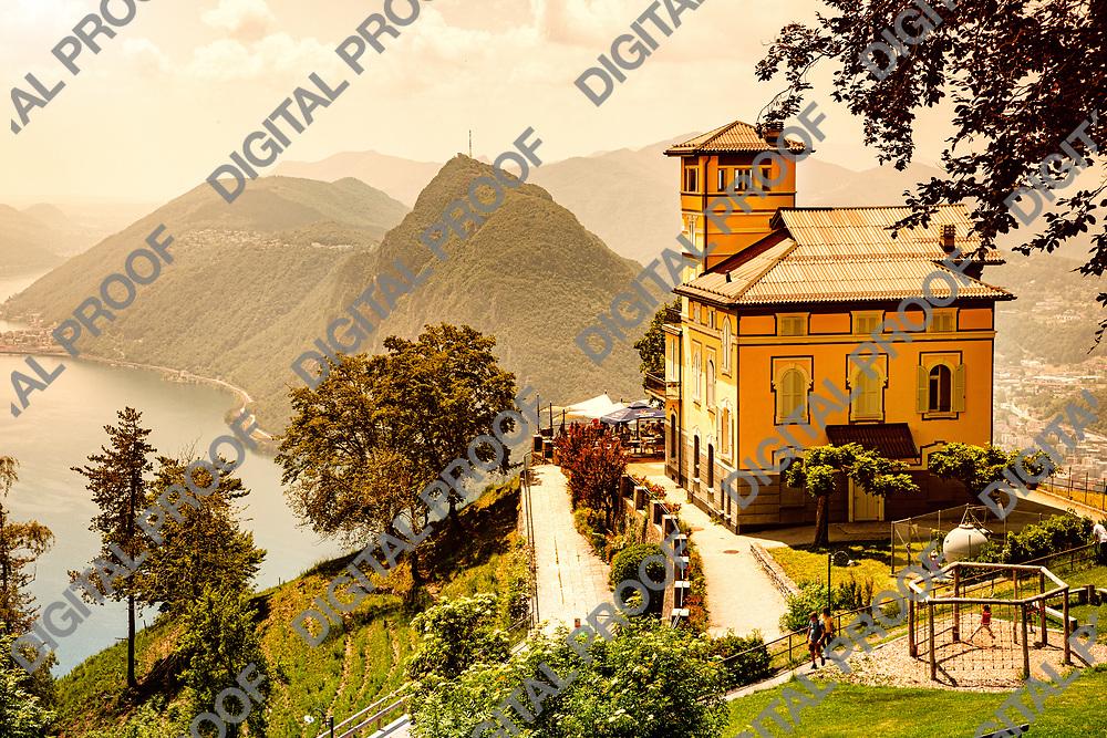 Mont Bre, Switzerland - June 08, 2019 Beautiful view of Resturant Vetta over Lake Lugano