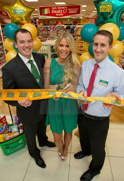 Repro Free: 30/08/2012.Dealz Senior Business Manager Leonard Brassel is pictured with top model Karena Graham and store Manager Colin Doyle at the opening of the new Dealz store in Tallaght, the fifteenth Dealz store to open to date. Located at Unit 110, The Square, Tallaght, Dublin 24, Dealz is creating 30 jobs in the Dublin area, bringing the total number of jobs created in Ireland to over 430. Pic Andres Poveda CPR..The new store has over 4,000 sq ft of retail space and offers customers a wide range of branded products from health and beauty, food and drink to clothing accessories. Dealz is proudly supporting Irish suppliers and are stocking a range of products produced in Ireland, such as milk, eggs, crisps and cakes...Commenting at the new store opening, Dealz Senior Business Manager Leonard Brassel said:  ?We are very excited to be expanding the Dealz portfolio in Ireland with the opening of our new store in Tallaght. The new store is the fifteenth Dealz store to open in Ireland to date and has created 30 new jobs for the Dublin area. Dealz is committed to bringing amazing value every day to customers and we are looking forward to expanding further across the Republic of Ireland. Dealz Tallaght will offer customers everything they need including great seasonal ranges for Back to School and Halloween.? ..ENDS..For further information, please contact:.Nadia Pallas Pettitt and Ruth Kavanagh WHPR, 01 6690030.087 203 8985 (NP) and 086 364 0483 (RK).nadia.pallaspettitt@ogilvy.com or ruth.kavanagh@ogilvy.com