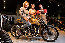 PDF Motociclette's Stefano Martinelli, Giulio Vezzoli and Davide Frenky Francavilla of Bergamo, Italy with their custom Vincent built by Frenky at the AMD World Championship of Custom Bike Building in the Intermot Customized hall during the Intermot International Motorcycle Fair. Cologne, Germany. Friday October 5, 2018. Photography ©2018 Michael Lichter.