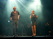 Shiri Maimon an Israeli singer vocalist during a joint performance with Shimon Buskila