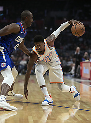 October 19, 2018 - Los Angeles, California, U.S - Paul George #13 of the Oklahoma Thunder looks to drive to the basket during their NBA game with the Los Angeles Clippers  on Friday October 19, 2018 at the Staples Center in Los Angeles, California. Clippers defeat Thunder, 108-92. (Credit Image: © Prensa Internacional via ZUMA Wire)