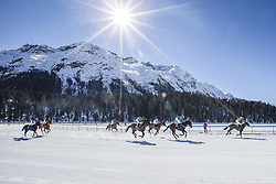 2019?2?18? .    ????????——?????????? .    2?17?????????????????????????? .    ????????????????????????????????????????????????????1907????????????????????????????????????????????????.    ????? ??? ?.(190218) -- ST. MORITZ (Switzerland), Feb. 18, 2019  Horsemen compete on the frozen lake on the third weekend of the White Turf races in St. Moritz, Switzerland,  Feb. 17, 2019.  The White Turf races are an important international horses winter races since 1907 in  St. Moritz. (Credit Image: © Xinhua via ZUMA Wire)