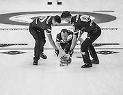 """Glasgow. SCOTLAND.  Scotland's """"Skip""""Tom BREWSTER releases, the """"Stone"""" during the """"Round Robin"""" Games. Le Gruyère European Curling Championships. 2016 Venue, Braehead  Scotland<br /> Monday  21/11/2016<br /> <br /> [Mandatory Credit; Peter Spurrier/Intersport-images]"""