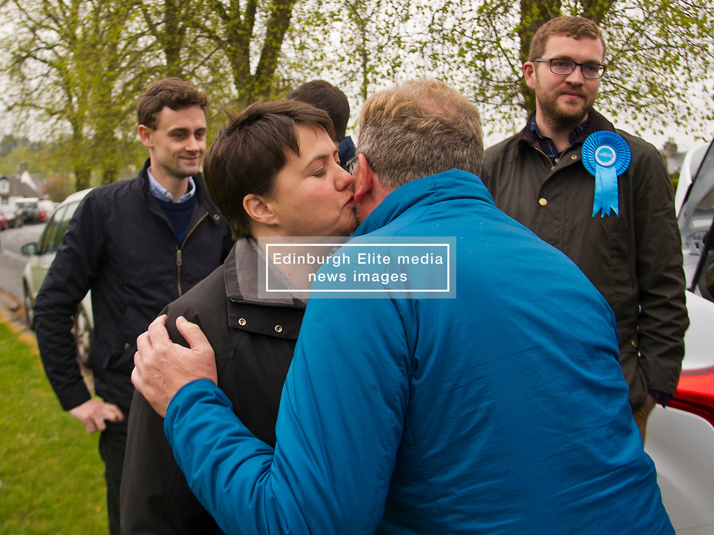 Pictured: Ruth Davidson and David Mundell greet each other<br /> <br /> Scottish Tory leader Ruth Davidson and Scottish Secretary David Mundell took to the campaign trail in West Linton today.<br /> <br /> Ger Harley | EEm 13 May 2017