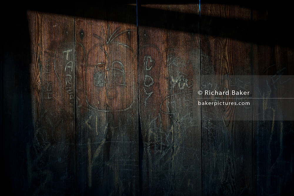Detail of the wood panels of a traditional Slovenian barn in a rural village, on 19th June 2018, in Bohinjska Bela, Bled, Slovenia.