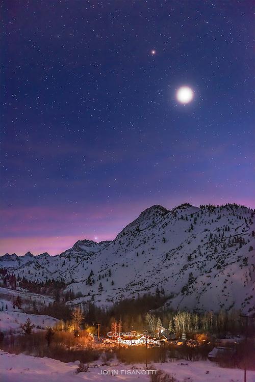 Winter twilight in the Eastern Sierra Nevada mountains of California